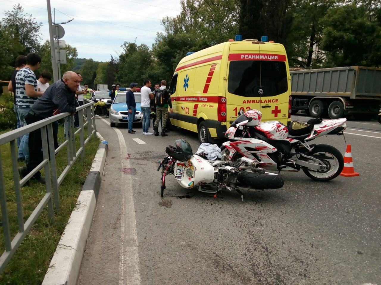 ВСочи вДТП умер мотоциклист. Видео скамеры наблюдения