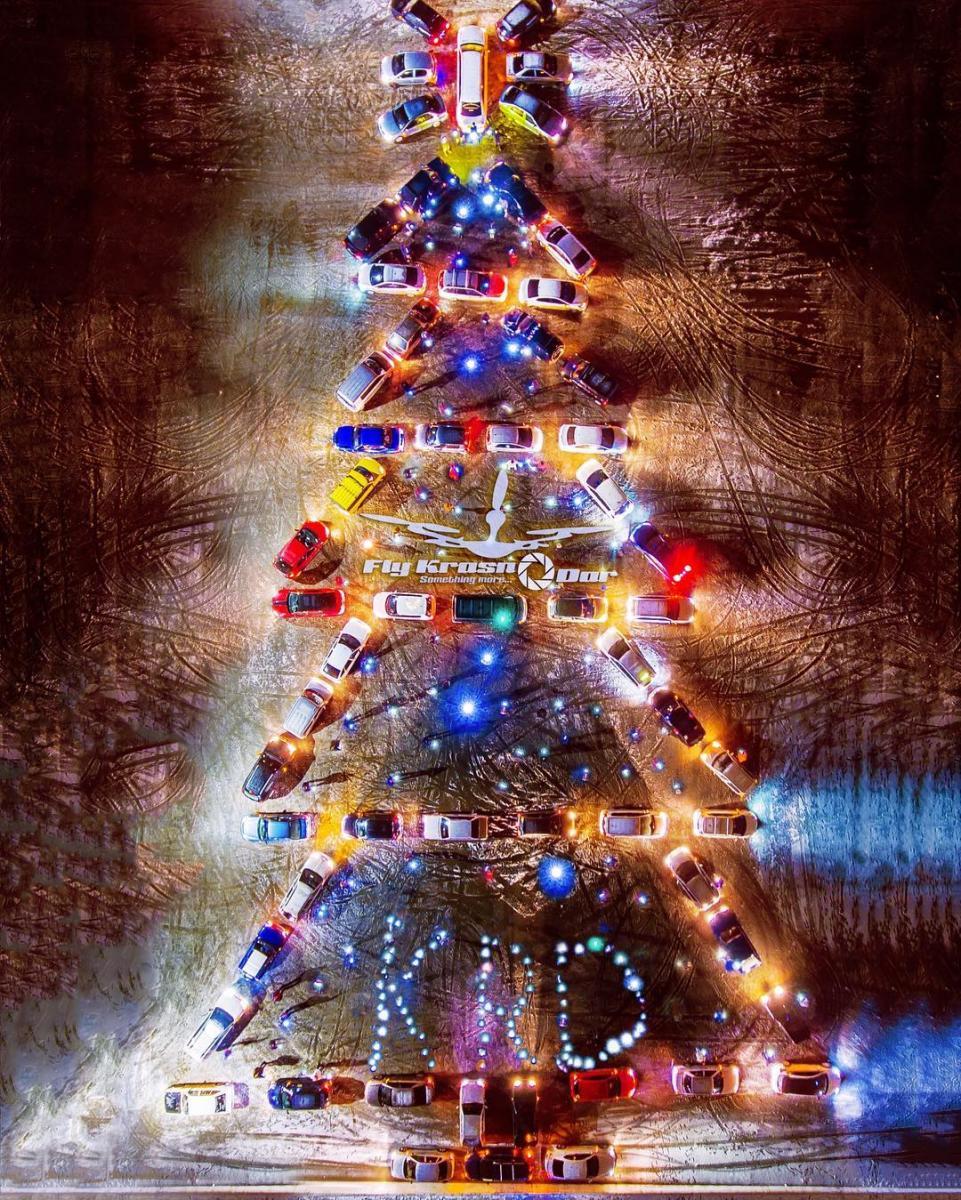 Новогодняя елка измашин подросла вКраснодаре
